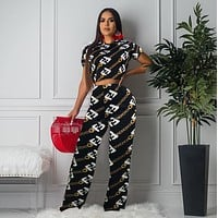 FENDI Women Fashion Casual Print Short Sleeve Top Pants Set Two-Piece Sportswear