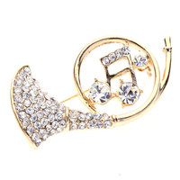 French Horn Brooch Pin Gold