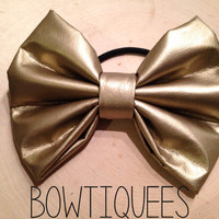 Metallic Gold Bow, Gold Bow Hair Tie , Gold Pony Tail Holder