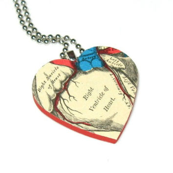 Anatomical Heart Necklace Anatomy Jewelry by dadadreams on Etsy