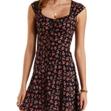 Black Combo Button-Up Floral Print Dress by Charlotte Russe