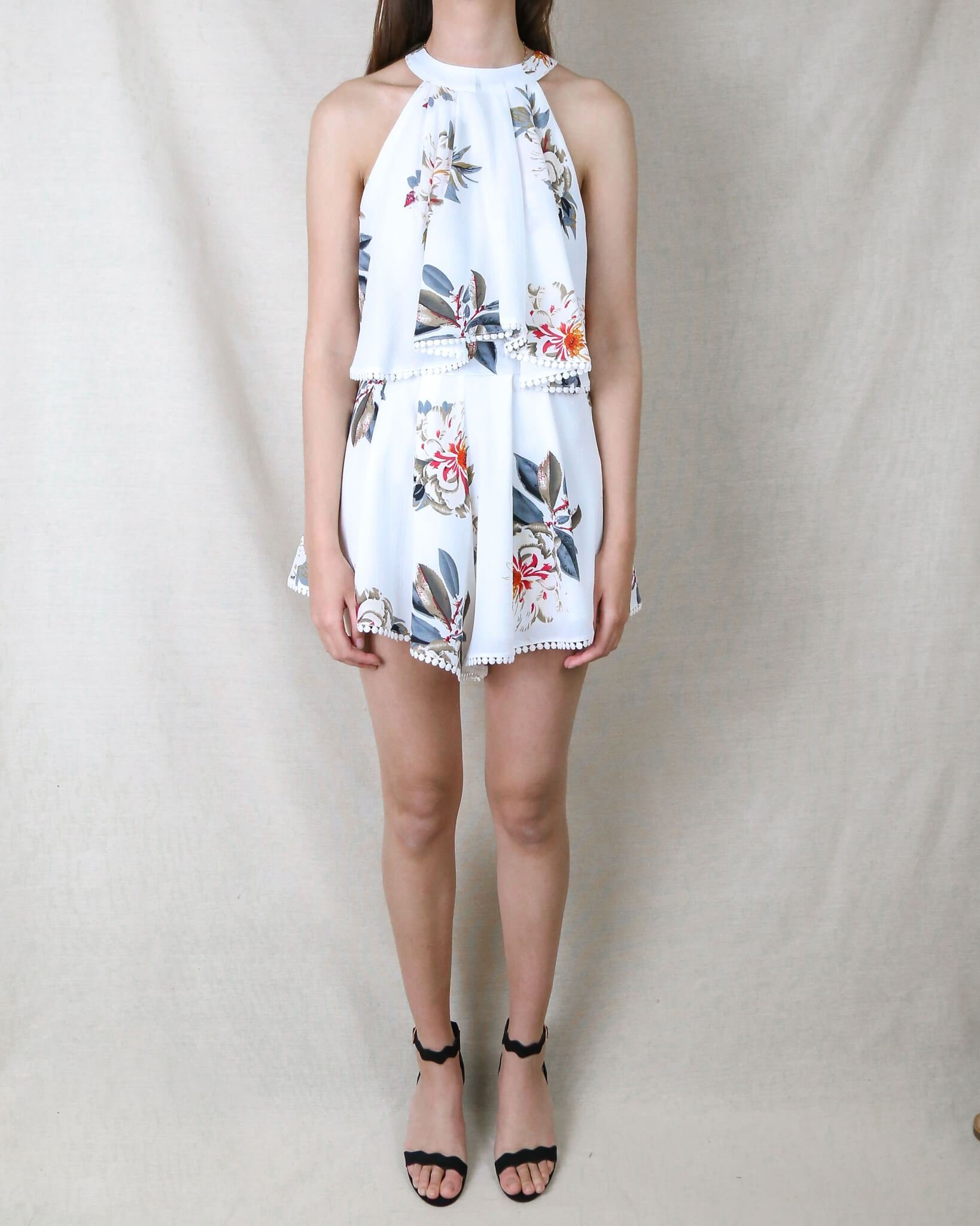 Image of Dance All Night Floral Halter Romper in More Colors