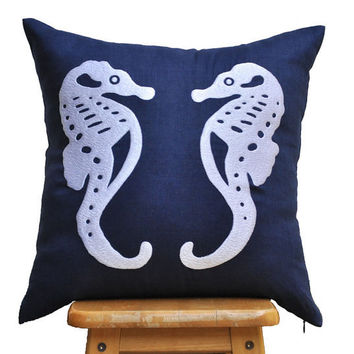 Navy White Nautical Pillow Cover, White Sea Horse on Navy Blue Pillow, Decorative Couch Pillow,Toss Pillow, Pillow 18 x 18