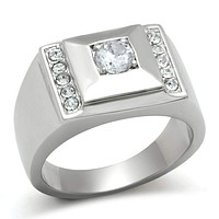 Mens Rings TK317 Stainless Steel Ring with AAA Grade CZ