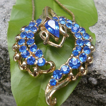 Coro Snake Necklace Sapphire Crystals Vintage Collectible Gold Tone