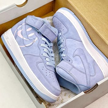 NIKE Air Force 1 High smiley hit color high-top strap Air Force couple casual sneakers