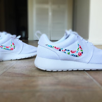 Womens Custom Nike Roshe Run Floral design, Custom Floral Nike, white with pop of color, cute and trendy