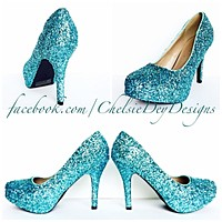 Robins Egg Glitter High Heels, Turquoise Blue Platform Prom Pumps