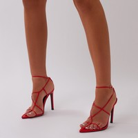 Charmer Strappy Heels in Red