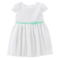 Carter's® 2-Piece Lace Dress and Diaper Cover Set in White/Green