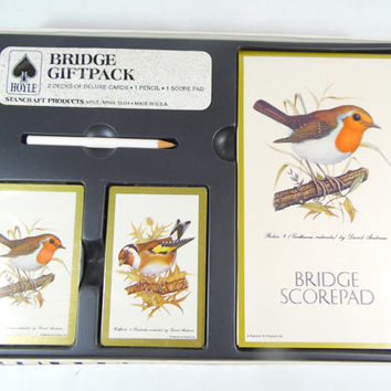 Vintage Bird Bridge Gift Set Playing Cards Bridge Giftpack Hoyle Playing Card Game Mid Century 2 Card Decks Score Pad & Pencil NEW OLD STOCK