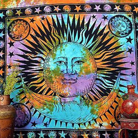 Indian Tapestry Multi Sun Moon and Stars Printed Wall Hanging Cotton Double Decor BedSheet D92M