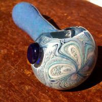 Light Purple Thick Glass Pipe with Flower