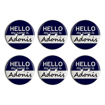 Adonis Hello My Name Is Plastic Resin Button Set of 6