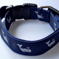 PREPPY NAVY WHALE - Dog Collar and/or Leash