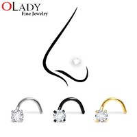 Fashion Stainless Steel 3MM Crystal Rhinestone Nose Studs Hooks Bar Pin Nose Rings Body Piercing Jewelry For Women