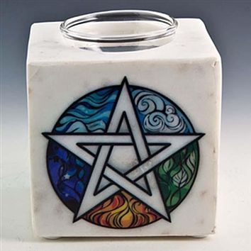 """Pentacle White  Marble Aroma Lamp - 4""""x3.25""""x4.5"""""""
