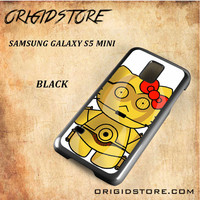 C3PO Hello Kitty Star Wars Black White Snap On 3D For Samsung Galaxy S5 Mini Case