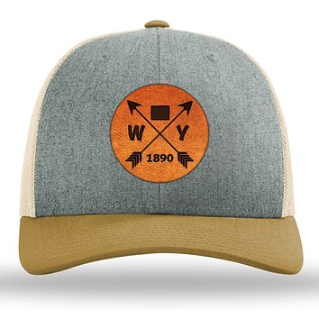 Wyoming State Arrows - Leather Patch Trucker Hat