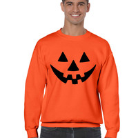 Jack O Lantern funny pumpkin Orange Man`s Sweatshirt