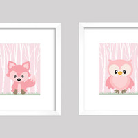 Woodland Animals, CUSTOMIZE YOUR COLORS, 8x10 Prints, set of 2, Pink Owl and Fox Forest Nursery Decor Print Kids Art Baby Room Baby Girl