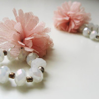 Pom-pom earrings- pale pink pom poms- white transparent rhinestones- shabby chic- winter fashion