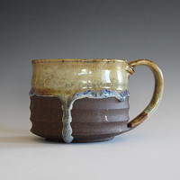 Pottery Mug, 14 oz, unique coffee mug, handmade cup, handthrown mug, stoneware mug, wheel thrown mug, ceramics and pottery