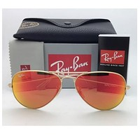 Ray Ban Aviator 3025 112/69 Sunglasses GOLD frame RED ORANGE FIRE MIRROR Lens