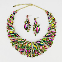 Luxury iridescent green crystal collar Necklace Earrings set