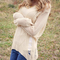 Heart Strings Beige Cable Knit Sweater