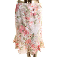 Alfred Dunner Womens Plus Floral Print Knee-Length Flounce Skirt