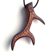 Chunky Deer Antler Necklace, Wooden Pendant Carved with Pyrography (wood burning). Antler Pendant, Deer Antler Jewelry, Nature, Mens, Tribal