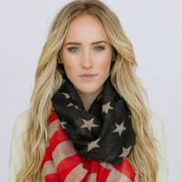 Vintage American Flag Infinity Scarf Patriotic July 4th Scarves Red White & Blue Infinity Flag Scarf