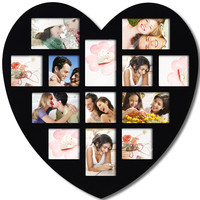 Decorative Black Wood Wall Hanging Heart-Shaped Hanging Picture Photo Frame