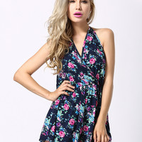 Pink and Purple Floral Print Romper