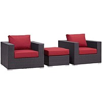 Red Convene 3 Piece Outdoor Patio Sofa Set