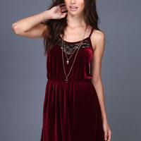 BURGUNDY VELVET LACE DRESS