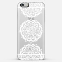 Three White Floral Lace Medallions on Clear iPhone 6 Plus case by Tangerine- Tane | Casetify