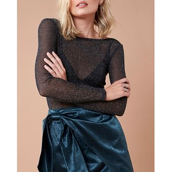 Final Sale - MINKPINK - In To The Night Metallic Mesh Top in Black