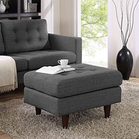 Gray Empress Upholstered Ottoman