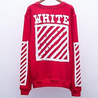OFF-WHITE Autumn and winter tide brand graffiti arrow Zebra warning line round neck pullover sweater red