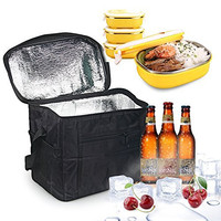 Large Insulated Bag, Oumers Lunch Tote Bag Box Cooler Bag, Silver Interior and Long Handles, Picnic Cold Drink Insulation Bag Cooler Bag Freezable, Keep Food and Drinks cool on the Outdoor Camping Picnic and Fishing, Black
