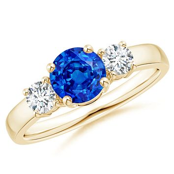 Created Blue Sapphire & CZ Three Stone Engagement Ring in 14K Yellow Gold