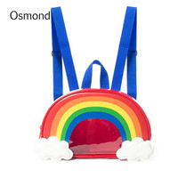 Osmond New Summer Women Backpack Mini Rainbow Printing Candy Colorful Backpack Women Fashion Small Storage Bag For Girls