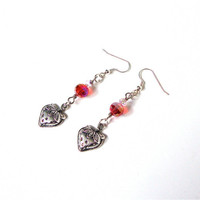 Strawberry earrings - dangly earrings - silver & red earrings - garden inspired - fruit earrings - long earrings by Sparkle City Jewelry