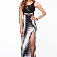 STRIPED SLIT MAXI DRESS
