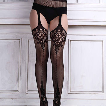 Ladies Special High Quality Sexy Womens Lace Stocking Garter Belt Thigh Black Stocking Lingerie net Pantyhose for girl Media