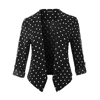 Polka Dot Print Open Front 3/4 Sleeve Blazer With Adjustable Sleeves (CLEARANCE)