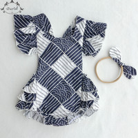 Summer Baby Clothes Ruffle Baby Girls Bodysuit Sleeveless Backless Bow Baby Girls Clothing Floral Girls Playsuit Toddler Outfit