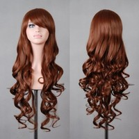 """Free Shipping 32"""" 80cm Long Hair Heat Resistant Spiral Curly 12 Color Cosplay Wig+free Wig Cap"""